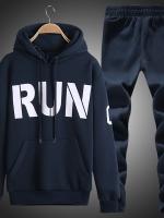 Pre Order ชุดวอร์มกันหนาว เสื้อแขนยาวพิมพ์ลายRun มีHOOD +กางเกงขายาว มี3สี