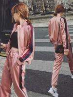 Pre Order ชุดวอร์มใส่เที่ยว แฟชั่นเกาหลี เสื้อแจ็คเก็ตแนวสตรีท+กางเกงขายาว สีตามรูป