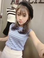 Pre Order เสื้อผู้หญิงแขนกุด คอกลมลายขวาง สไตล์เกาหลี มี 6 สี
