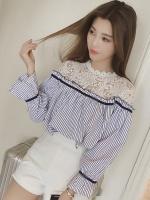 เสื้อแฟชั่นเกาหลีคอกลม แขนยาว ลายริ้ว สีขาวฟ้า