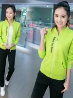 Pre Order ชุดวอร์มสไตล์เกาหลี เสื้อแจ็คเก็ตแขนยาวสกรีนลาย+กางเกงขายาว มี3สี
