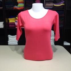"""เสื้อยืดแขน3ส่วน size""""M"""" สีชมพูโอรส"""