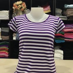 """เสื้อยืดคอกลม ลายริ้ว สีม่วงราเวนเดอร์+ขาว size """"M"""""""