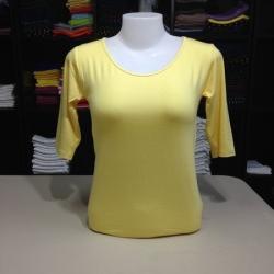 """เสื้อยืดแขน3ส่วน size""""M"""" สีเหลืองอ่อน"""