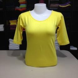 """เสื้อยืดแขน3ส่วน size""""M"""" สีเหลืองดอกคูณ"""
