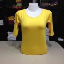 """เสื้อยืดแขน3ส่วน size""""M"""" สีเหลืองสด"""