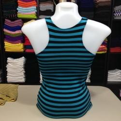 เสื้อกล้ามหลังสปอร์ต ลายริ้ว สีฟ้า-ดำ