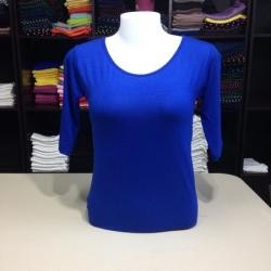 """เสื้อยืดแขน3ส่วน size""""M"""" สีน้ำเงิน"""