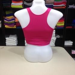 เสื้อกล้ามหลังสปอร์ตครึ่งตัว สีชมพูบานเย็น