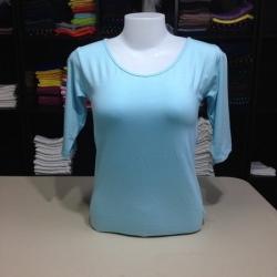 """เสื้อยืดแขน3ส่วน size""""M"""" สีฟ้าอ่อน"""