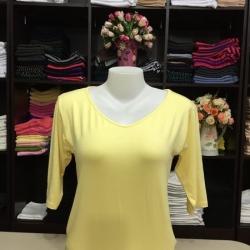 """เสื้อยืดแขน3ส่วน size""""L"""" สีเหลืองอ่อน"""