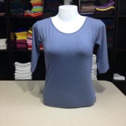 """เสื้อยืดแขน3ส่วน size""""M"""" สีฟ้าคราม"""