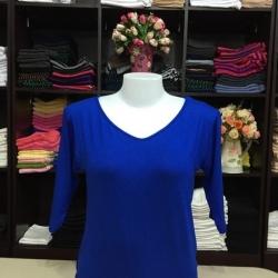 """เสื้อยืดแขน3ส่วน size""""L"""" สีน้ำเงิน"""