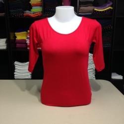 """เสื้อยืดแขน3ส่วน size""""M"""" สีแดง"""