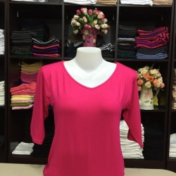 """เสื้อยืดแขน3ส่วน size""""L"""" สีชมพูบานเย็น"""
