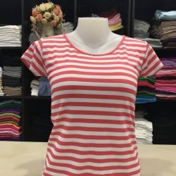 """เสื้อยืดคอกลม ลายริ้ว สีโอรส+ขาว size """"M"""""""