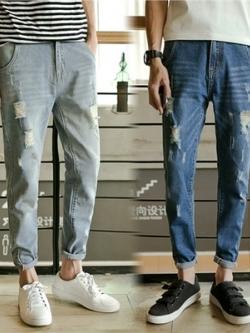 กางเกงยีนส์ขายาวเกาหลี แนวเซอร์ๆ แต่งรอยปะ มี2สี