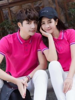 Pre Order เสื้อโปโลคู่รักแฟชั่น สไตล์เกาหลี แต่งลายคลาสสิก สีชมพู