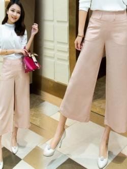 กางเกงขาห้าส่วนเกาหลี ขากว้าง แต่งกระเป๋ากางเกง มี4สี