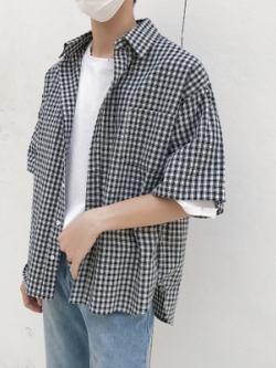 เสื้อเชิ้ตแขนห้าส่วนเกาหลี ลายตารางสก็อต มี2สี