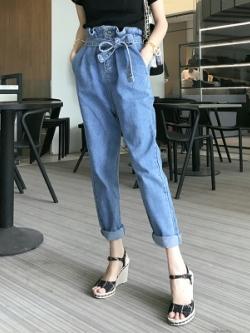กางเกงยีนส์ขายาวเกาหลี แต่งสายผูกเอว ทรงหลวม