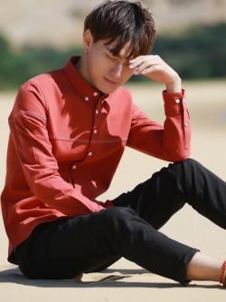 เสื้อเชิ้ตแขนยาวเกาหลี แต่งลายเส้นคาด ซับในกำมะหยี่ มี4สี