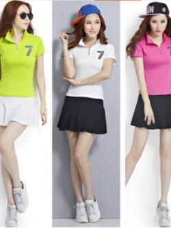 เสื้อกีฬาเกาหลี ชุดเซทเสื้อโปโล+กระโปรง แต่งอักษร มี3สี