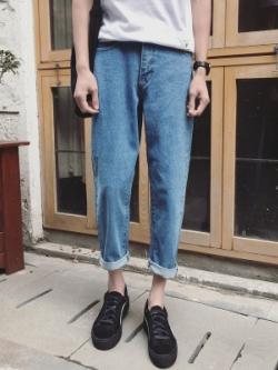 กางเกงยีนส์ขายาว ทรงดินสอ สไตล์เกาหลี มี2สี