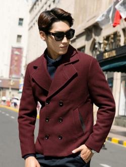 เสื้อสูทแขนยาวเกาหลี สีไวน์แดง แต่งกระดุมเสื้อคู่