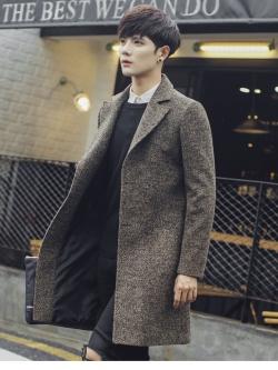 Pre Order เสื้อโค้ทตัวยาว ผ้าขนสัตว์ แขนยาว แต่งกระดุมสองเม็ด สไตล์เกาหลี มี4สี