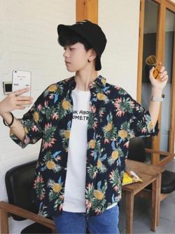 เสื้อเชิ้ตแขนสั้นเกาหลี พิมพ์ลายทั้งตัว แนวชายหาด มี2สี