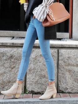 กางเกงยีนส์ขายาวเกาหลี ทรงเข้ารูปแนวสลิม มี2สี