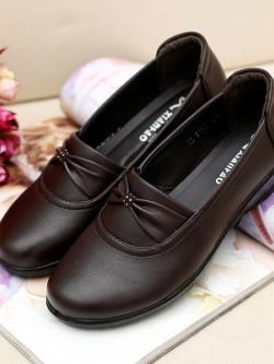 รองเท้าหนังแฟชั่นเกาหลี แต่งโบว์ด้านหน้า นุ่มใส่สบาย มี2สี