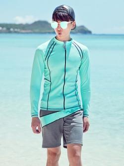 ชุดว่ายน้ำสีเขียวมิ้นท์เกาหลี เซท2ชิ้น เสื้อแขนยาว+กางเกง