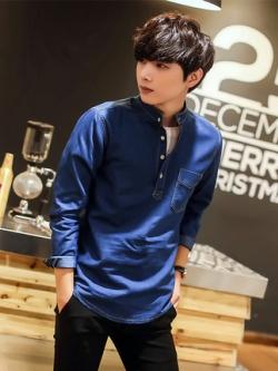 เสื้อเชิ้ตแขนยาวเกาหลี แต่งกระดุมครึ่งตัว มี2สี