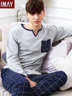 ชุดนอนเกาหลี แต่งคอปกเสื้อ เสื้อแขนยาว+กางเกงขายาว แนวยุโรป