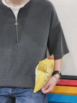 เสื้อแฟชั่นเกาหลี แต่งซิบครึ่งตัว ดีไซน์เท่ มี3สี