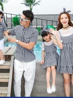 ชุดครอบครัวเซท4ชุด ลายตารางสก็อต เสื้อเชิ้ต+ชุดเซทเอี้ยม