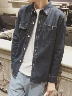 เสื้อเชิ้ตยีนส์เกาหลี ดีไซน์กระเป๋าเสื้อ ผ้าหนาใส่สบาย มี2สี
