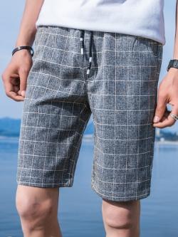 กางเกงขาสั้นเกาหลี แต่งลายสก็อต แนวลำลอง มี2สี