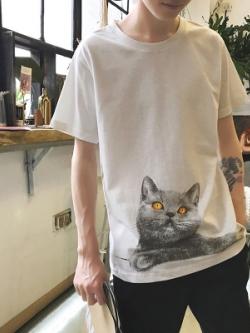 เสื้อยืดแขนสั้นสีขาวเกาหลี แต่งรูปแมวน่ารัก