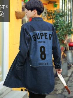 เสื้อโค้ทยีนส์สีน้ำเงิน แต่งพิมพ์ลายด้านหลัง แนวเกาหลี
