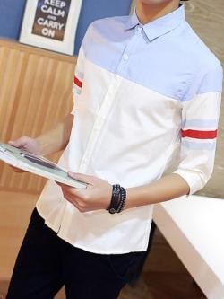 เสื้อเชิ้ตแขนห้าส่วนเกาหลี แต่งแถบเส้นด้านข้าง ดีไซน์สลับสี มี2สี