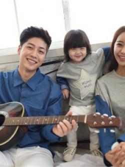 ชุดครอบครัวเซท3ชุด เสื้อแขนยาวเกาหลีสีน้ำเงินเข้ม ทรงหลวม