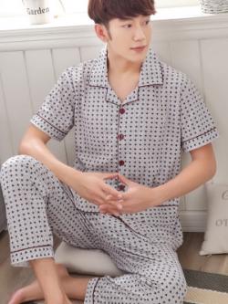 ชุดนอนเกาหลี สีตามรูป พิมพ์ลายทั้งตัว เสื้อแขนสั้น+กางเกงขายาว