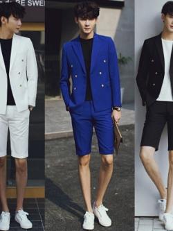ชุดเซทเครื่องแบบสูทเกาหลี เสื้อสูทแขนยาว+กางเกงขาสั้น มี3สี