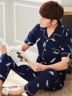 ชุดนอนสีน้ำเงินเกาหลี แต่งลายขนนกทั้งตัว เสื้อ+กางเกง