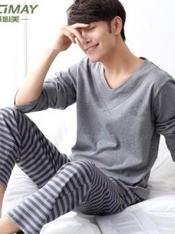 ชุดนอนคอVเกาหลี เสื้อแขนยาว+กางเกงขายาว มี2สี