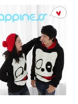 เสื้อกันหนาวคู่รักเกาหลี ผ้าสำลี ลายน้องหมามีซิบด้านหน้า