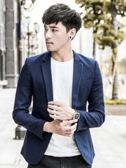 เสื้อสูทแขนยาวเกาหลี สีน้ำเงินเข้ม แนวเบลเซอร์